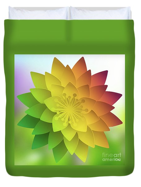 Rainbow Lotus Duvet Cover by Mo T