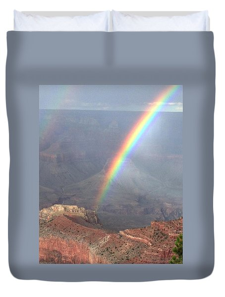 Rainbow Meets Mather Point Duvet Cover