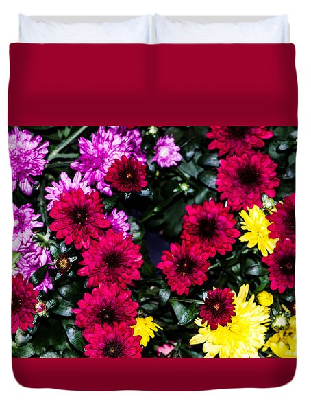 Rainbow Of Color Flowers Duvet Cover
