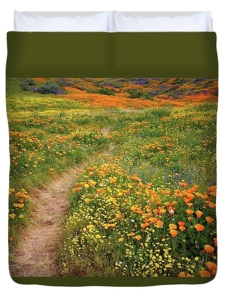 Rainbow Of Wildflowers Bloom Near Diamond Lake In California Duvet Cover