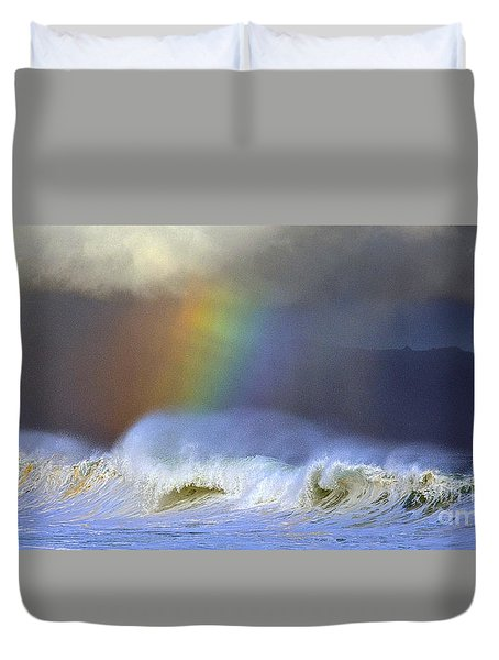 Duvet Cover featuring the photograph Rainbow On The Banzai Pipeline At The North Shore Of Oahu 2 To 1 Ratio by Aloha Art