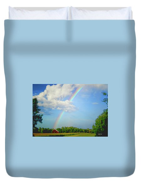 Rainbow On The Farm Duvet Cover by Bonnie Willis