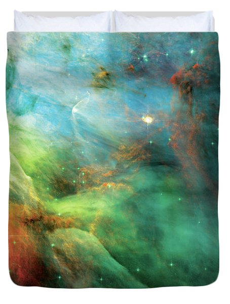 Rainbow Orion Nebula Duvet Cover by Jennifer Rondinelli Reilly - Fine Art Photography