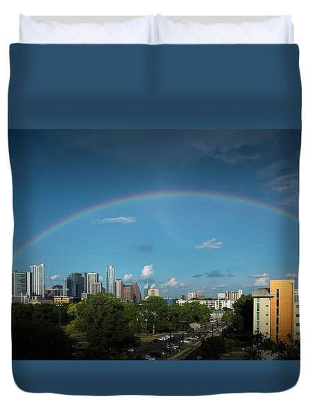 Rainbow Over Austin Duvet Cover