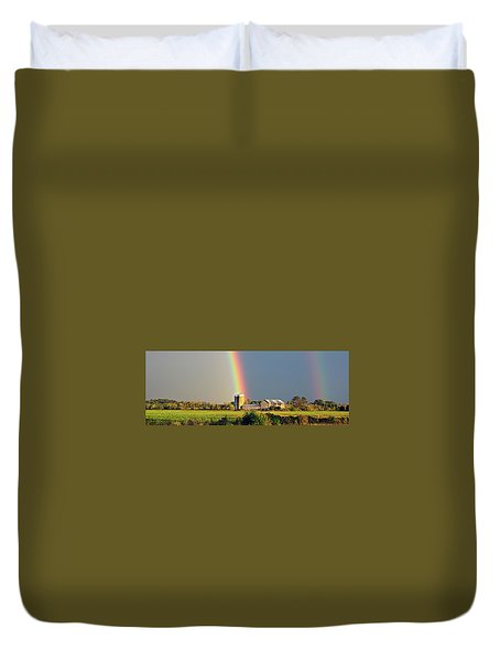 Rainbow Over Barn Silo Duvet Cover