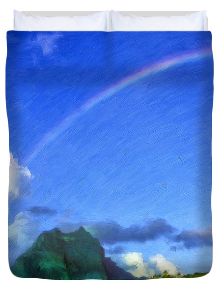 Rainbow Over Bora Bora Duvet Cover