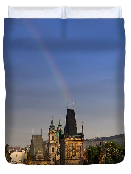 Rainbow Over Charles Bridge Duvet Cover