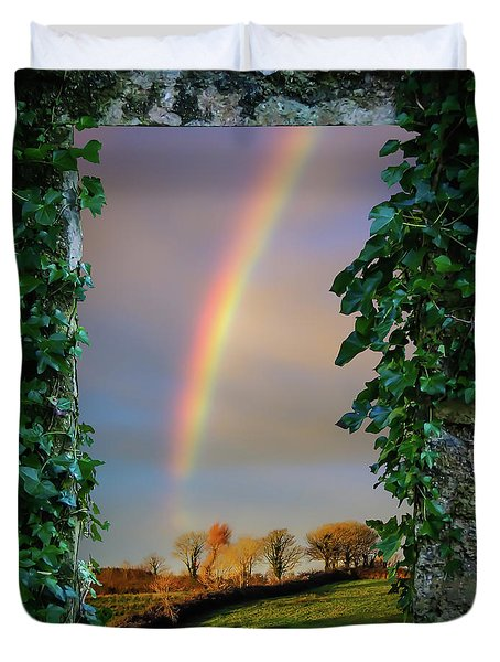 Duvet Cover featuring the photograph Rainbow Over County Clare, Ireland, by James Truett