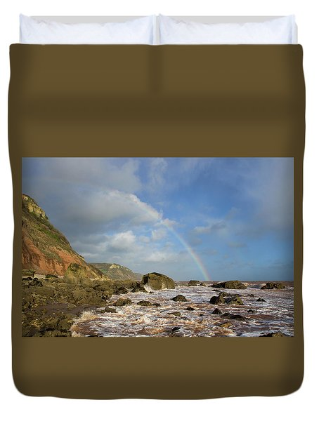 Rainbow Over Dunscombe Cliff Duvet Cover