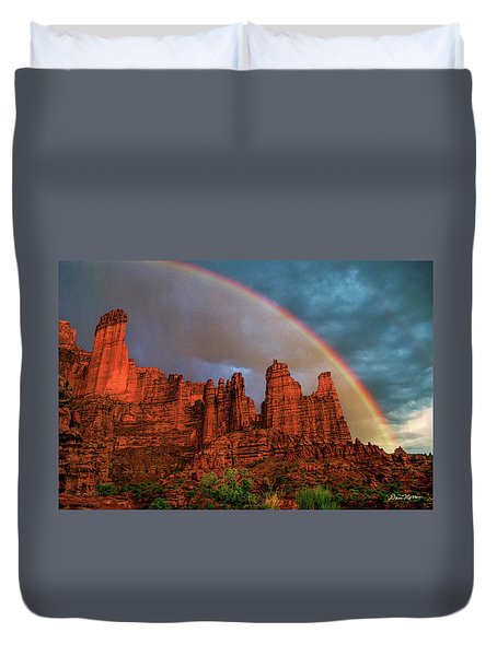 Rainbow Over Fisher Towers Duvet Cover