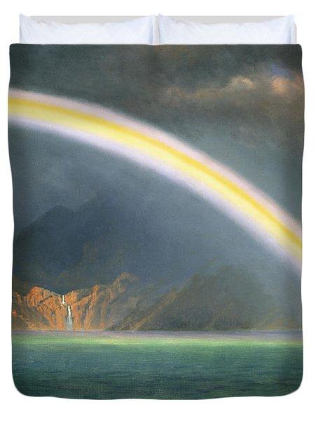 Rainbow Over Jenny Lake Wyoming Duvet Cover by Albert Bierstadt