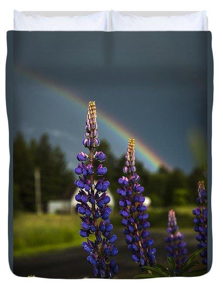 Rainbow Over Lupine  Duvet Cover