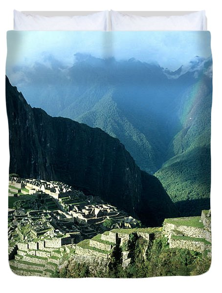 Rainbow Over Machu Picchu Duvet Cover