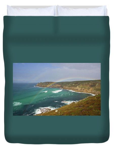 Rainbow Over Nanjizal Bay In Cornwall Duvet Cover