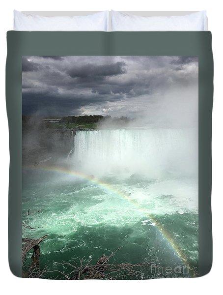 Rainbow Over Niagara Falls Duvet Cover