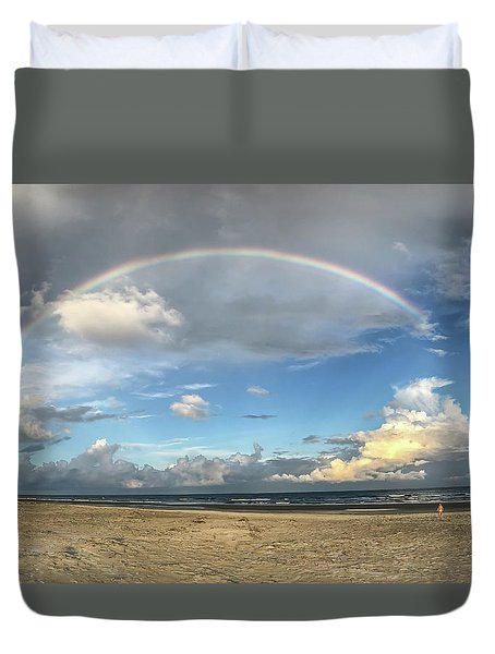 Rainbow Over Ocean Duvet Cover