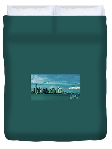Rainbow Over Panama City Duvet Cover