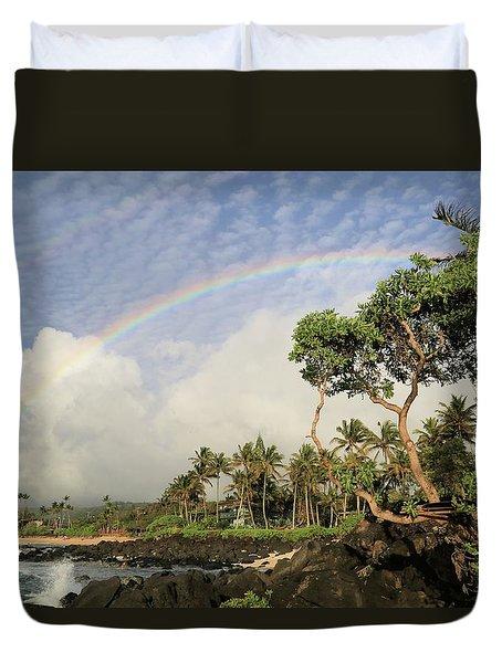 Rainbow Over The Beach Duvet Cover