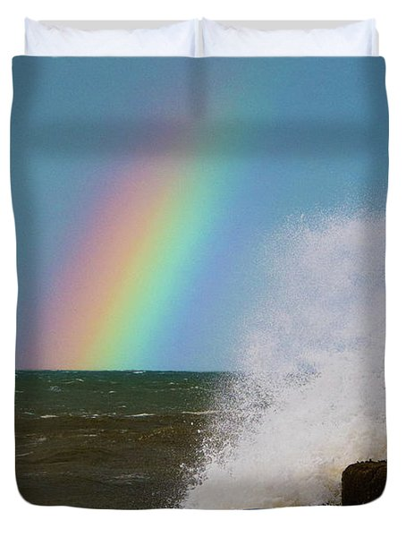 Rainbow Over The Crashing Waves Duvet Cover
