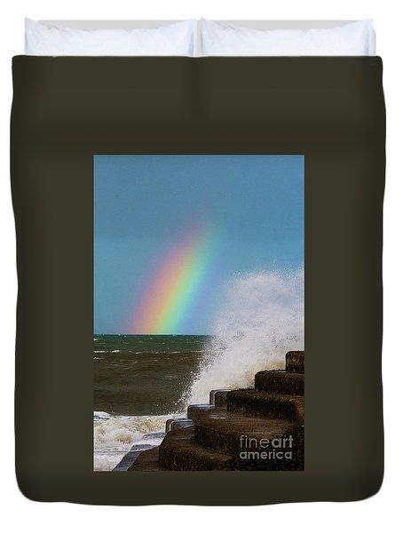 Rainbow Over The Crashing Waves Duvet Cover