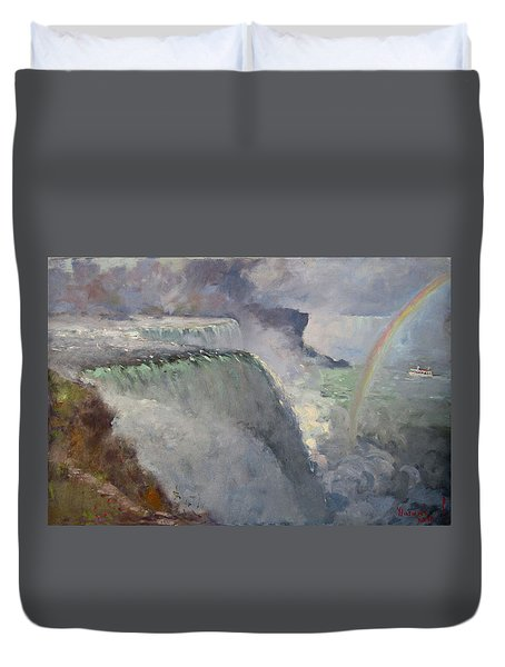 Rainbow Over The Falls Duvet Cover