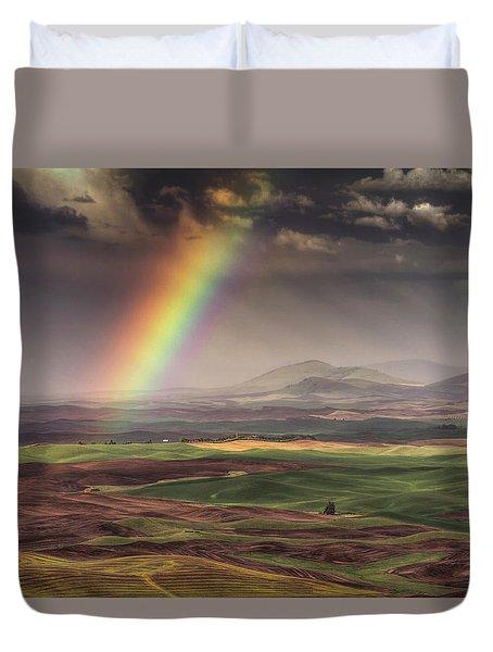Rainbow Over The Palouse Duvet Cover