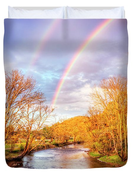 Duvet Cover featuring the photograph Rainbow Over The River II by Debra and Dave Vanderlaan