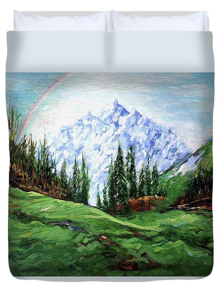 Rainbow Over The Snow Covered Mountain Duvet Cover