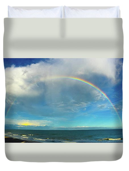 Rainbow Over Topsail Island Duvet Cover by John Pagliuca