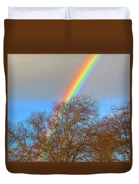 Rainbow Over Trees Duvet Cover
