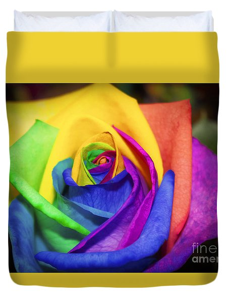 Rainbow Rose In Paint Duvet Cover
