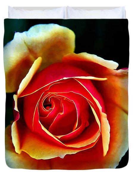 Duvet Cover featuring the photograph Rainbow Rose by John Haldane