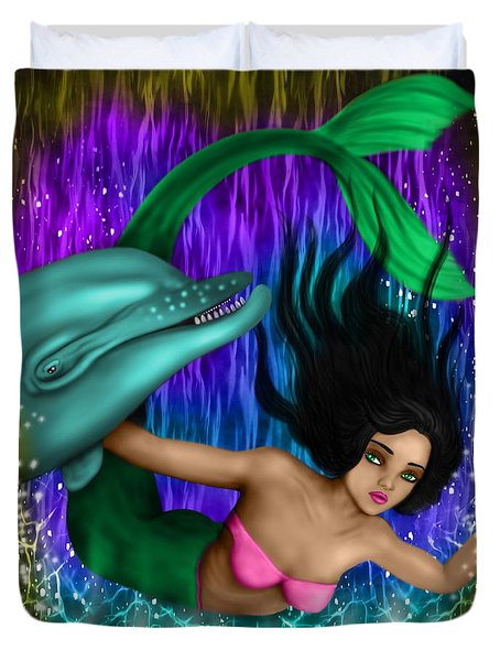 Rainbow Sea Mermaid - Fantasy Art Duvet Cover