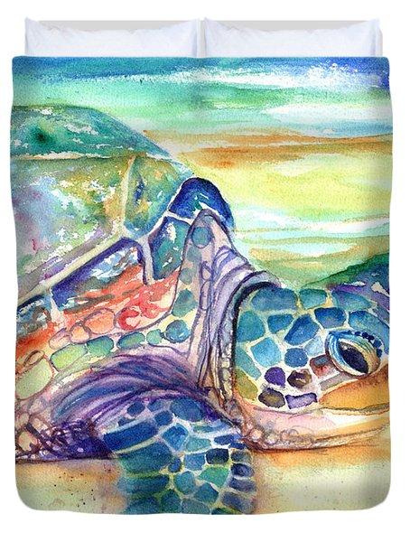 Rainbow Sea Turtle 2 Duvet Cover