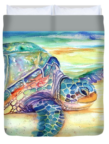 Rainbow Sea Turtle 2 Duvet Cover