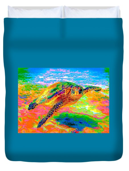 Rainbow Sea Turtle Duvet Cover