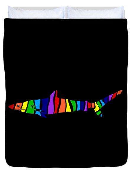 Rainbow Shark Duvet Cover