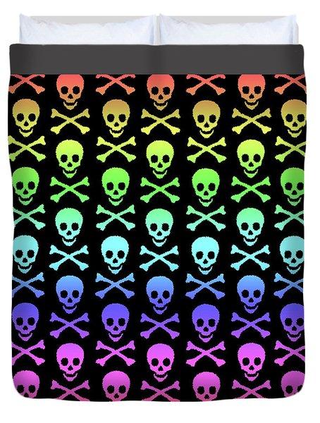 Rainbow Skull And Crossbones Duvet Cover by Roseanne Jones