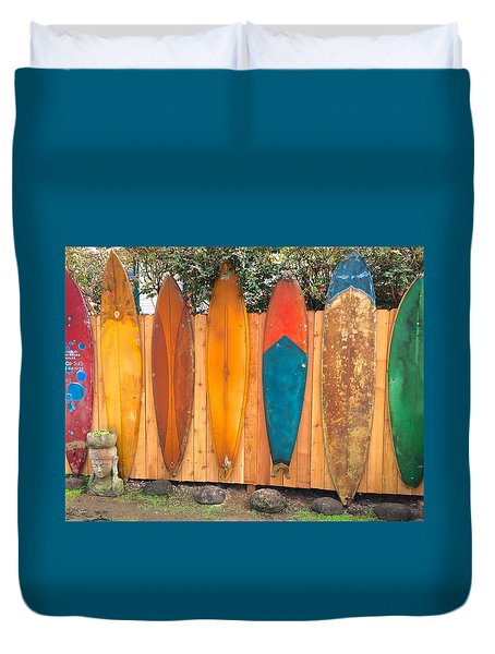 Surfboard Rainbow Duvet Cover