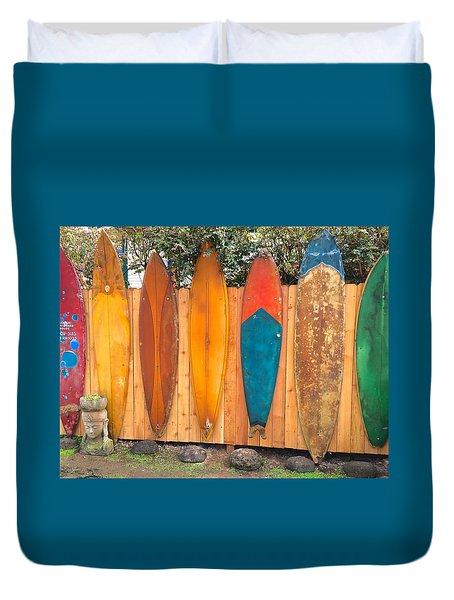 Surfboard Rainbow Duvet Cover by Brenda Pressnall