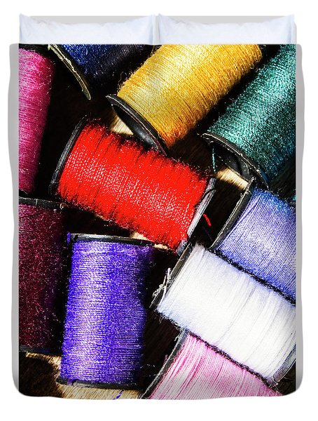 Duvet Cover featuring the photograph Rainbow Threads Sewing Equipment by Jorgo Photography - Wall Art Gallery