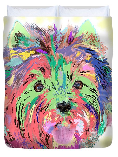 Duvet Cover featuring the painting Rainbow Toto . Colorful Dog by Renee Trenholm
