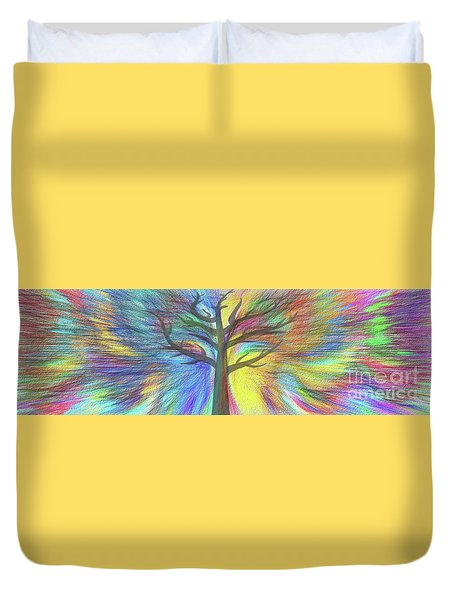 Duvet Cover featuring the digital art Rainbow Tree By Kaye Menner by Kaye Menner