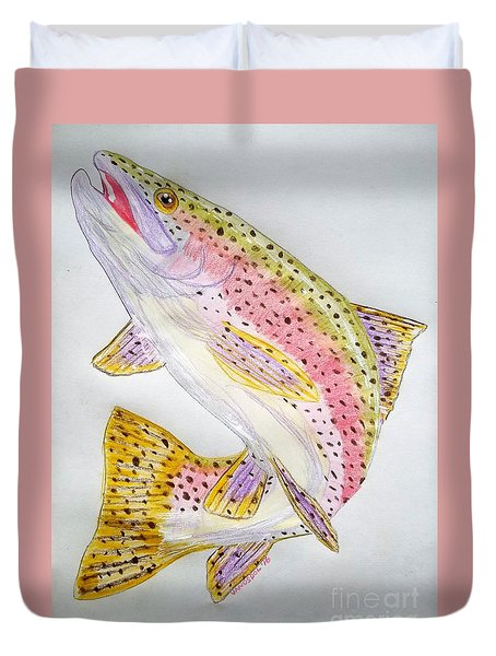 Rainbow Trout Presented In Colored Pencil Duvet Cover by Scott D Van Osdol