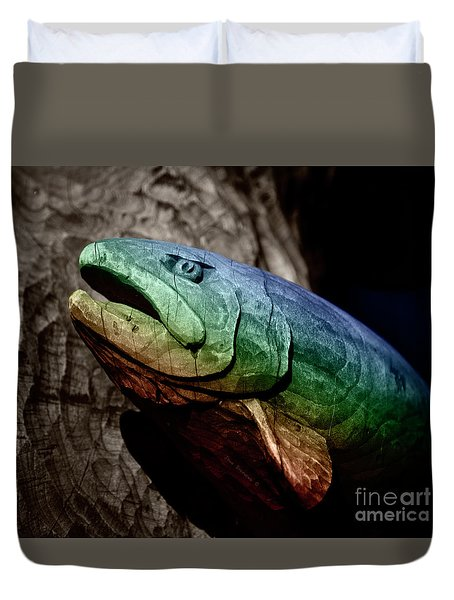 Rainbow Trout Wood Sculpture Square Duvet Cover by John Stephens