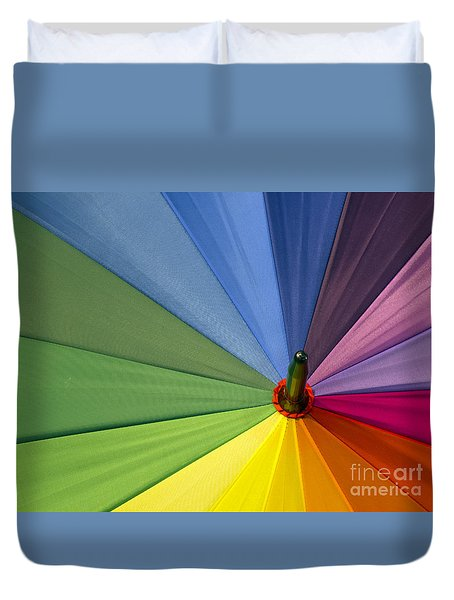 Duvet Cover featuring the photograph Rainbow Umbrella by Inge Riis McDonald