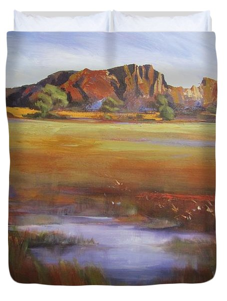 Duvet Cover featuring the painting Rainbow Valley  Australia by Chris Hobel