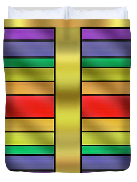 Duvet Cover featuring the digital art Rainbow Wall Hanging Horizontal by Chuck Staley
