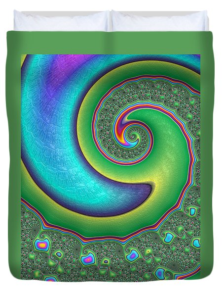 Duvet Cover featuring the photograph Rainbow Wave by Ronda Broatch