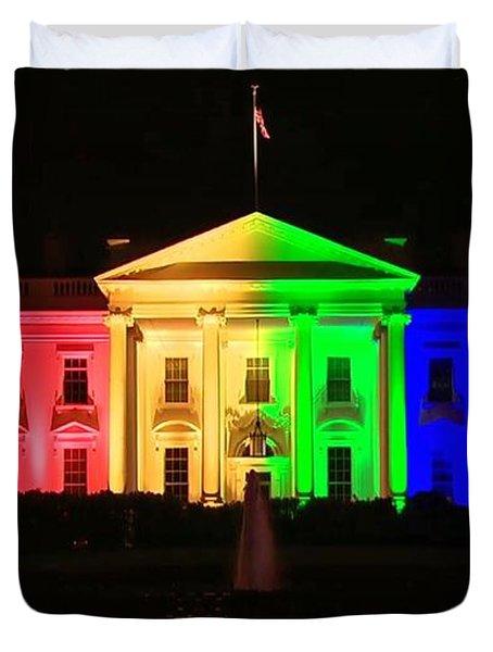 Rainbow White House Duvet Cover